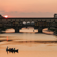 Buy canvas prints of Ponte Vecchio Sunset, Florence by Ian Collins