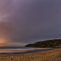 Buy canvas prints of Oxwich Bay with the Moon, Gower by Dan Santillo