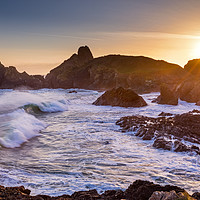 Buy canvas prints of Kynance Cove at sunset in Cornwall by Dan Santillo