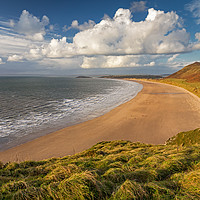 Buy canvas prints of Rhossili Bay, Gower by Dan Santillo