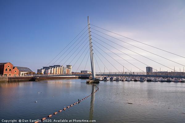 The Sail Bridge, Swansea Marina, Swansea, Wales Canvas print by Dan Santillo