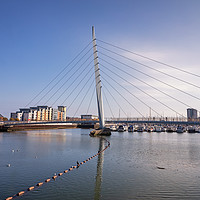 Buy canvas prints of The Sail Bridge, Swansea Marina, Swansea, Wales by Dan Santillo