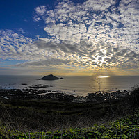 Buy canvas prints of Mewstone Sunset from Wembury Point by Jon Rendle
