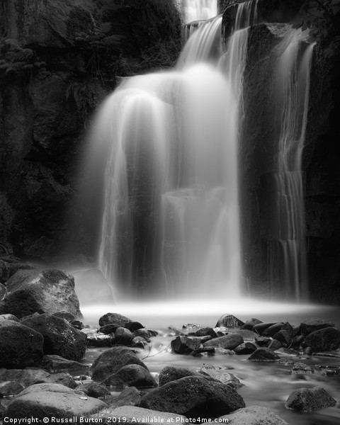 Lumsdale Mill water fall Canvas Print by Russell Burton
