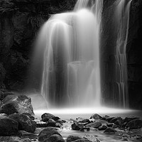 Buy canvas prints of Lumsdale Mill water fall by Russell Burton