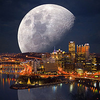 Buy canvas prints of Spacey Pittsburgh by Frankie Cat