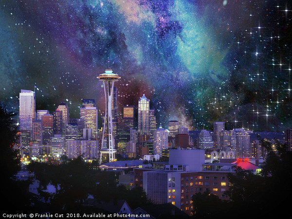 Spacey Seattle Canvas print by Frankie Cat