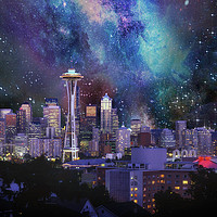 Buy canvas prints of Spacey Seattle by Frankie Cat
