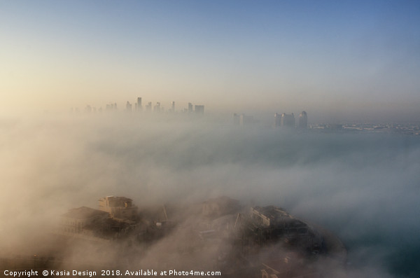 Doha through the Morning Mists Canvas Print by Kasia Design