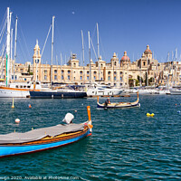 Buy canvas prints of Malta: Traditional Fishing Boat in Vittoriosa by Kasia Design