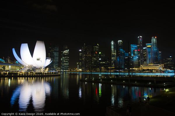 The Lotus at Night, Singapore Print by Kasia Design