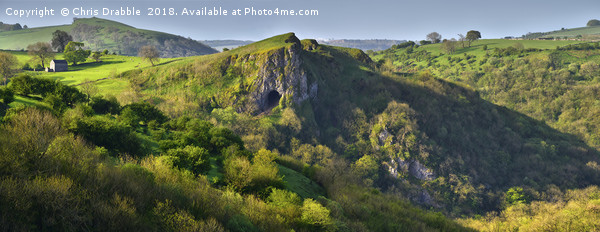 Thors Cave and the Manifold Valley in early light  Canvas print by Chris Drabble