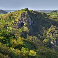 Buy canvas prints of Thors Cave and the Manifold Valley in early light  by Chris Drabble
