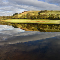 Buy canvas prints of A mirror reflection in Ladybower Reservior        by Chris Drabble