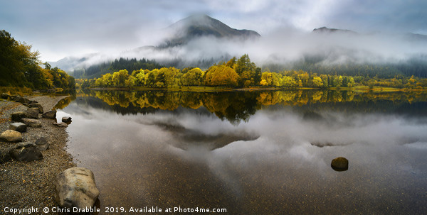 Loch Lubnaig with reflections of Autumn Framed Mounted Print by Chris Drabble