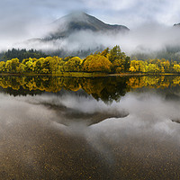 Buy canvas prints of Loch Lubnaig with reflections of Autumn by Chris Drabble