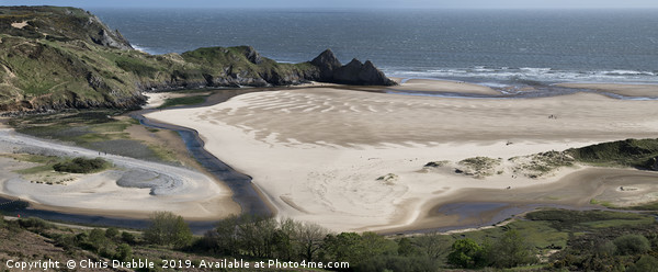 Three Cliffs Bay, the Gower Peninsula Canvas print by Chris Drabble
