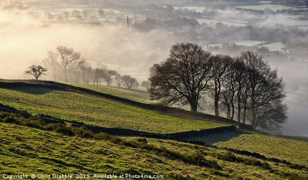 Bamford village shrouded in a mist inversion, from Canvas print by Chris Drabble