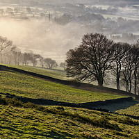 Buy canvas prints of Bamford village shrouded in a mist inversion, from by Chris Drabble