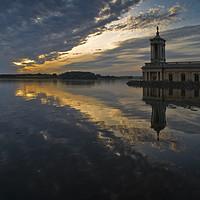 Buy canvas prints of Normanton Church at sunset, Rutland Water, Rutland by Chris Drabble