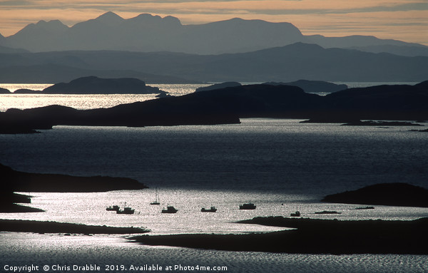 Winter sunset light over the Summer Isles Canvas print by Chris Drabble