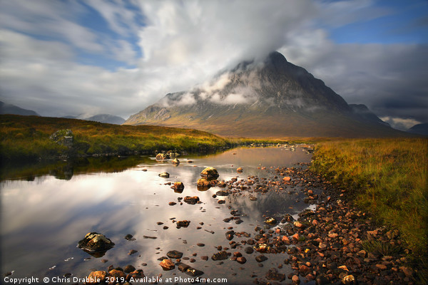 Cloud Chasing, Buachaille Etive Mor                Framed Mounted Print by Chris Drabble