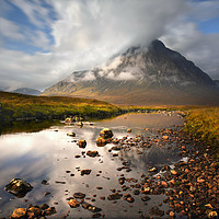 Buy canvas prints of Cloud Chasing, Buachaille Etive Mor                by Chris Drabble