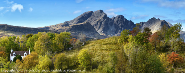 Bla Bheinn and cottage                             Canvas Print by Chris Drabble