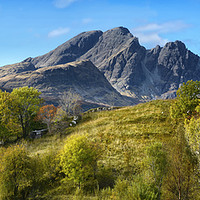 Buy canvas prints of Bla Bheinn and cottage                             by Chris Drabble