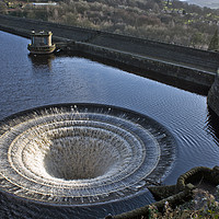 Buy canvas prints of Bellmouth overflow, Ladybower Reservior by Chris Drabble