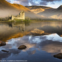 Buy canvas prints of Kilchurn Castle at dawn reflected in Lock Awe by Chris Drabble