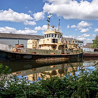 Buy canvas prints of Old Boats Along The Exeter Canal by dorsetgirl