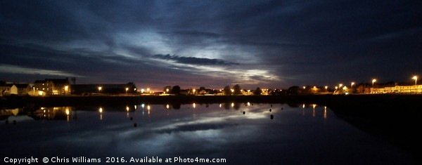 Burry Port Harbour By Night Canvas Print by Chris Williams