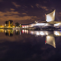 Buy canvas prints of Salford Quays, Lowry, Imperial War Museum Panorama by Ian Haworth