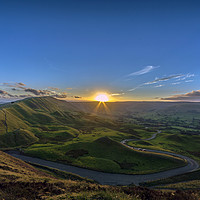 Buy canvas prints of Sunset Over Rushup Edge From Mam Tor by Ian Haworth