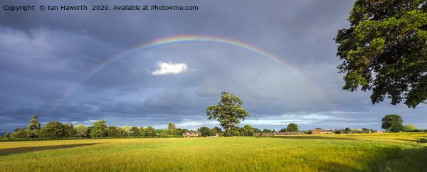 Rainbow Over Barley Fields Canvas print by Ian Haworth
