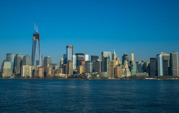 Manhattan view from Hudson Framed Mounted Print by Gaukhar Yerkimbekova