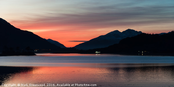 Sunset at Loch Leven Canvas print by Mark Greenwood