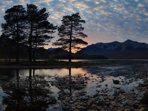 Sunset at Loch Clair Canvas Print by Mark Greenwood