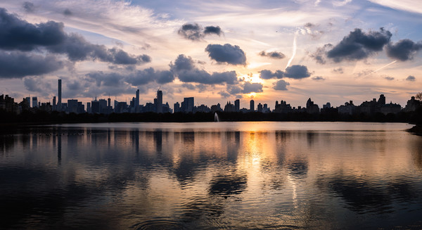 Manhattan Reflections Framed Mounted Print by Mark Greenwood