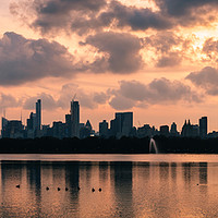 Buy canvas prints of Pink Sunset Over Manhattan by Mark Greenwood