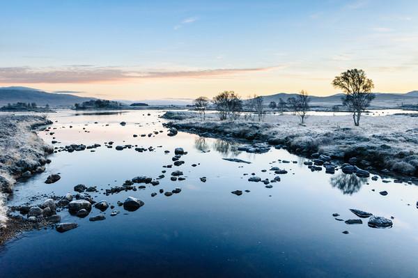 Icy Sunrise at Loch Ba Canvas print by Mark Greenwood