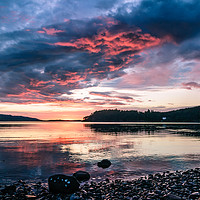 Buy canvas prints of Midsummer Sunset at Poolewe by Mark Greenwood