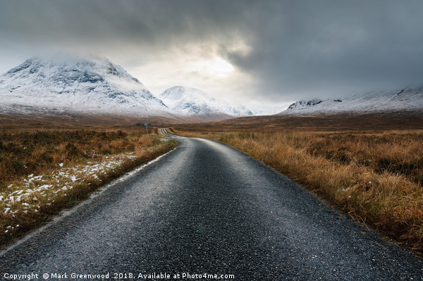 The Road To Glen Etive Canvas print by Mark Greenwood