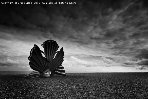 Scallop sculpture on the beach at Aldburgh Canvas print by Bruce Little