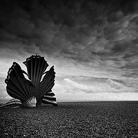 Buy canvas prints of Scallop sculpture on the beach at Aldburgh by Bruce Little