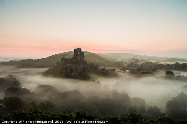 Corfe Castle in the mist Canvas print by Richard Murgatroyd