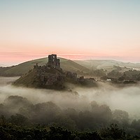 Buy canvas prints of Corfe Castle in the mist by Richard Murgatroyd