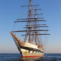 Buy canvas prints of Tall Ship Anchored off Penzance by Tom Wade-West