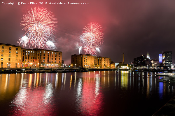 Albert dock fireworks Liverpool Canvas Print by Kevin Elias
